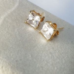 Nadri Square Princess Cut CZ Earrings 14k Gold
